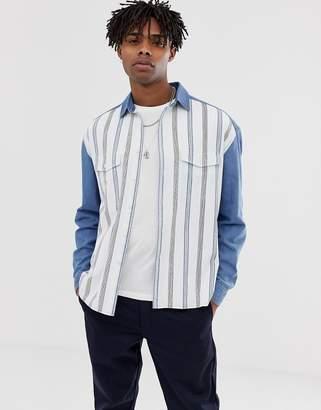 Asos Design DESIGN oversized 90's style denim shirt with stripe front