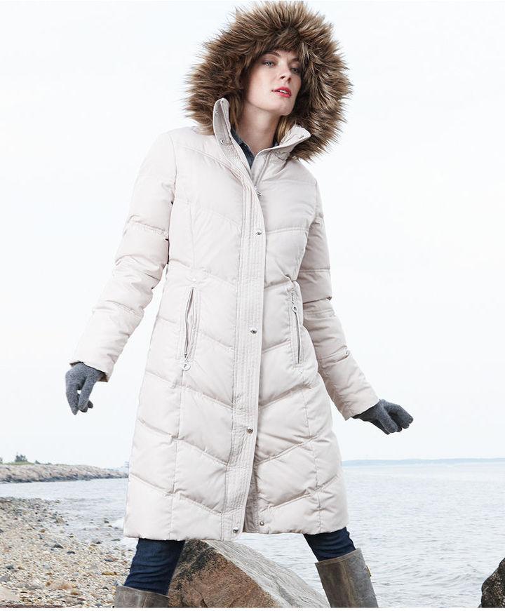Calvin Klein Coat, Faux-Fur-Trim Hooded Knee-Length Puffer