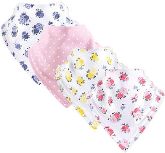 Baby Vision Luvable Friends Unisex Baby Bandana Bibs, Floral Pink 4-Pack, One Size