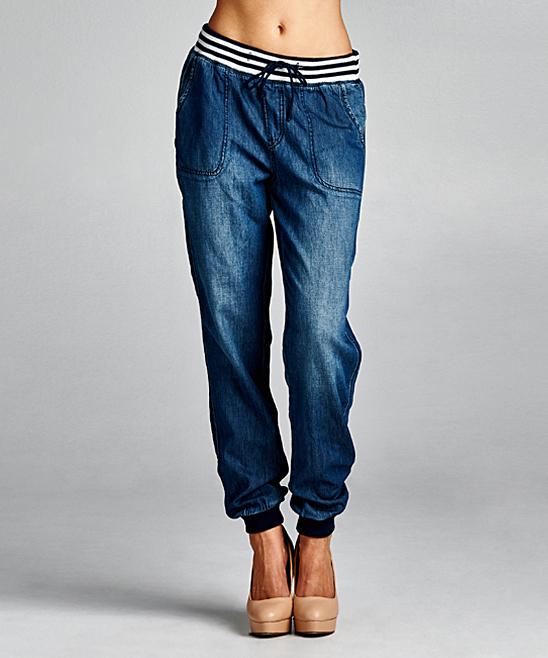 Dark Denim Stripe Banded Jogger Pants