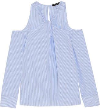 Rag & Bone Collingwood Cold-shoulder Striped Cotton-poplin Top - Blue