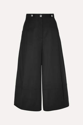 Alexander McQueen Button-embellished Pleated Wool-crepe Culottes - Black
