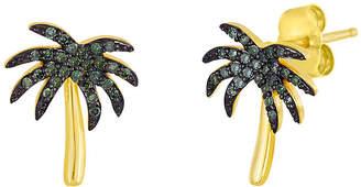 FINE JEWELRY 1/6 CT. T.W. Color-Enhanced Green Diamond Palm Tree Earrings