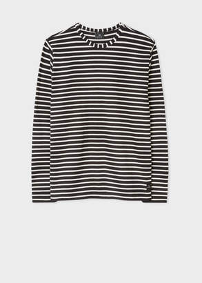 Paul Smith Men's Black And White Stripe Cotton Long-Sleeve T-Shirt
