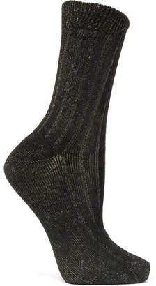 Maria La Rosa Ribbed Metallic Cotton-blend Socks - Black