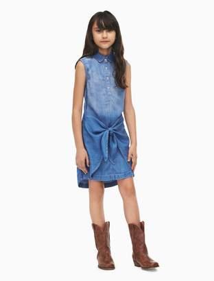 Calvin Klein girls denim tie front dress