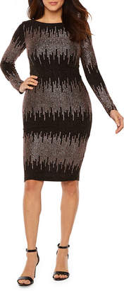 PREMIER AMOUR Premier Amour Long Sleeve Glitter Knit Sheath Dress