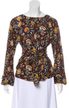 Etro Tie-Accented Floral Print Top