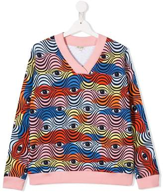 Kenzo eye print colour-block sweater