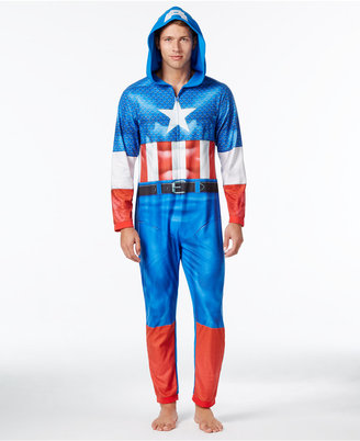 Briefly Stated Men's Captain America Hooded One-Piece Pajamas $70 thestylecure.com