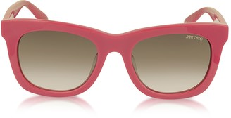 Jimmy Choo SASHA/S 8V0K8 Fuchsia Acetate Square Frame Sunglasses with Silver Stars