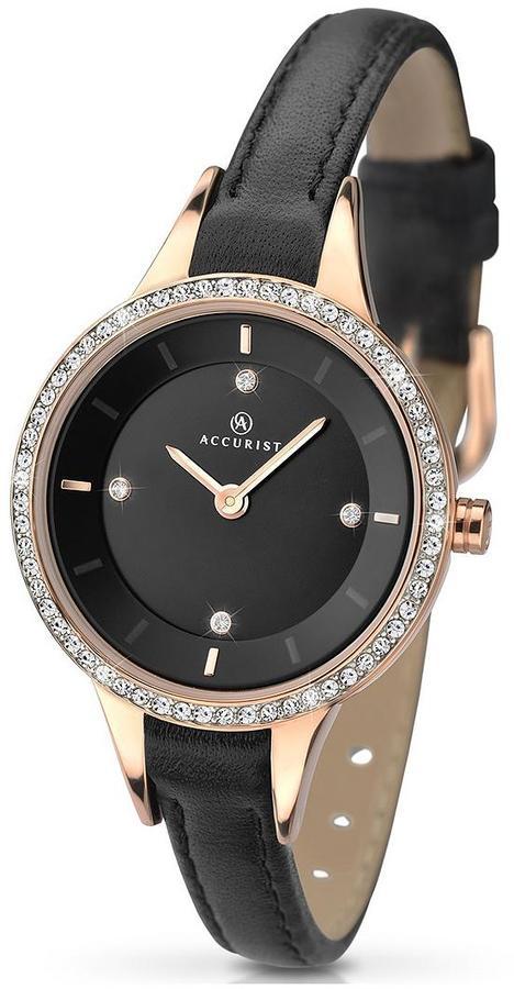 Accurist Black Dial Stone Bezel Leather Strap Ladies Watch