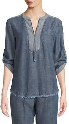 Trina Turk Kaiko Chambray Half-Zip Shirt