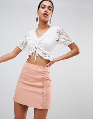 Fashion Union Mini Skirt With Button Side