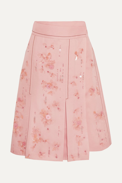 Prada - Embellished Pleated Silk-crepe Wrap Skirt - Pink