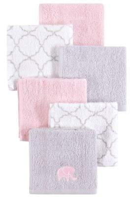Hudson Baby 6-Pack Elephant Woven Terry Washcloths in Pink