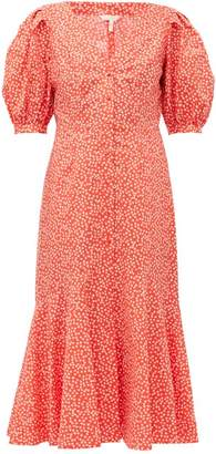 Rebecca Taylor Malia Floral Print Cotton Poplin Midi Dress - Womens - Red Multi