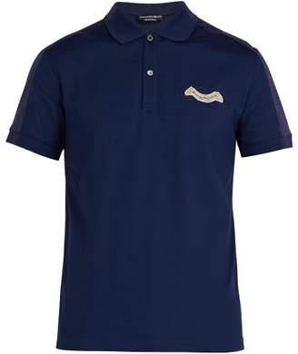 Alexander McQueen Bi Colour Logo Polo Shirt - Mens - Navy