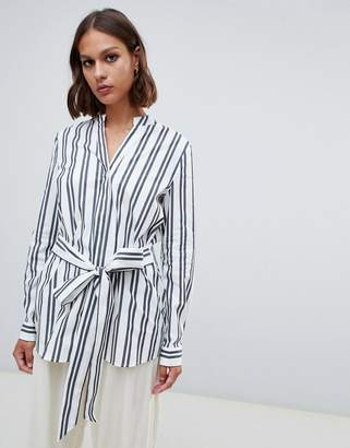 Selected Evelyn tie waist stripe shirt