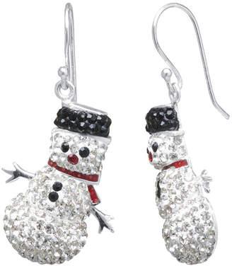SPARKLE ALLURE Sparkle Allure Snowman Multi Color Crystal Silver Over Brass Drop Earrings