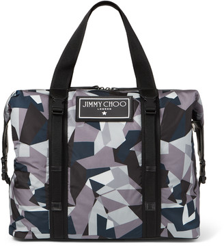 Jimmy Choo ARLINGTON Anthracite Mix Camo Print Nylon Weekend Holdall Tote