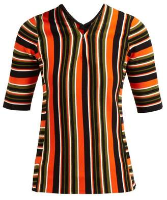 Proenza Schouler Striped Intarsia Zip Front Sweater - Womens - Orange Multi