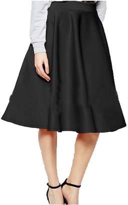 23bc73156eda Ambrelia Women Perfect Pleats A-line Knee Length Fla High Waist Midi Skater  Skirt