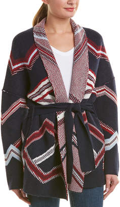Maje Belted Wool-Blend Cardigan