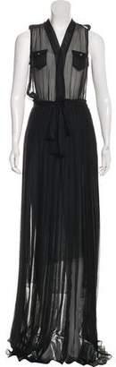 DSQUARED2 Silk Pleated Maxi Dress