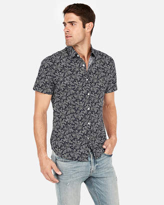 Express Slim Floral Short Sleeve Shirt