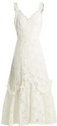Rebecca Taylor Adriana Laced Back Broderie Anglaise Cotton Dress - Womens - White