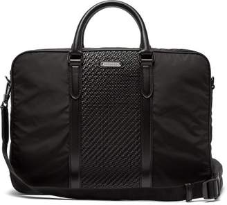 Ermenegildo Zegna Pelle Tessuta Woven Leather And Nylon Briefcase - Mens - Black