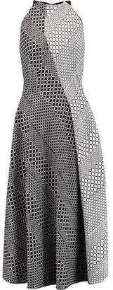 Roland Mouret Baldry Cutout Jacquard And Crepe Midi Dress