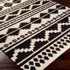 Mercury Row Carrizales Hand-Woven Wool Black/Grey Ikat Area Rug