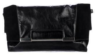 Halston Suede Foldover Tote Bag