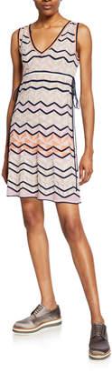 M Missoni Zigzag Stitch V-Neck Sleeveless Mini Dress