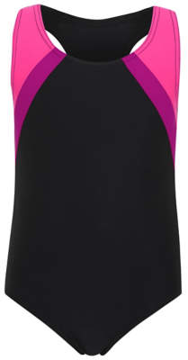 George Girls Black Panelled School Swimsuit