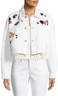 Oscar de la Renta Splatter-Embroidered Denim Jacket