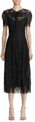 Ralph Lauren Bridget Lace Puff-Sleeve Midi Dress