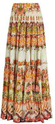 Camilla - Samba Salada Tiered Maxi Skirt - Womens - Orange Multi