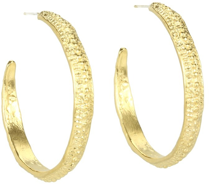 Dogeared Jewels Medium Textured Earrings - Antique (Gold Dipped) - Jewelry