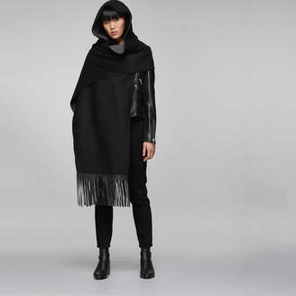 Mackage ADA HOODED LEATHER FRINGE SCARF