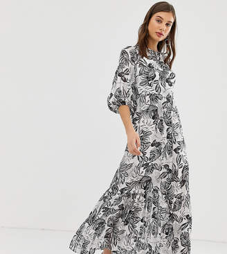 Reclaimed Vintage inspired mono print maxi dress with open back