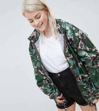 Asos Design Curve Rain Jacket With Bum Bag In Camo Print