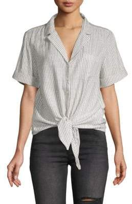 French Connection Laiche Tie-Front Button-Down Shirt