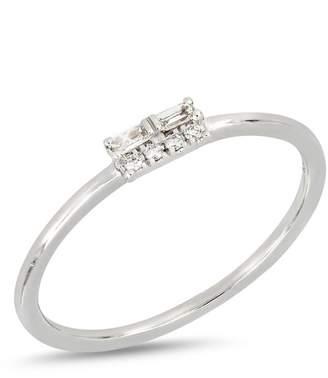 Bony Levy 18K White Gold Baguette & Round Diamond Detail Ring - Size 7