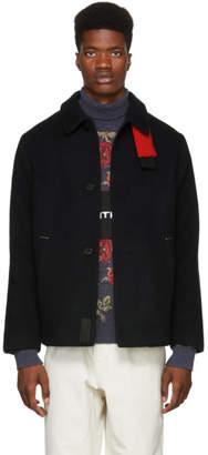 Oamc Navy Shearling Patch Jacket