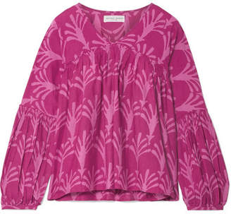 Apiece Apart Izza Wabi Printed Cotton And Silk-blend Top - Pink