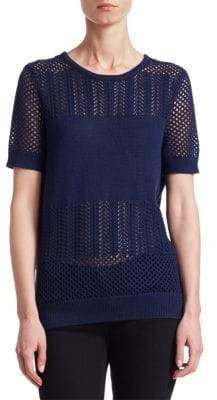 Saks Fifth Avenue COLLECTION Mixed Stitch Short-Sleeve Pullover