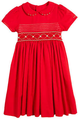 Luli & Me Peter Pan-Collar Smocked Bishop Dress, Size 5-6X